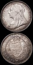 London Coins : A163 : Lot 2606 : Halfcrowns (2) 1896 ESC 730, Bull 2782, Davies 668, dies 2A, AU/GEF nicely toned, the obverse lightl...