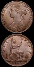 London Coins : A163 : Lot 2623 : Pennies 1861 (2) Freeman 22 dies 4+D NEF formerly in an NGC holder and graded AU55, the second as Fr...