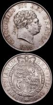 London Coins : A163 : Lot 685 : Halfcrowns (2) 1818 ESC 621, Bull 2099 GEF with hints of gold toning the obverse with a scratch on t...