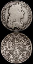 London Coins : A164 : Lot 1145 : Halfcrowns (2) 1676 ESC 478, Bull 471 VG and bold with all major details very clear, 1707 SEPTIMO ES...
