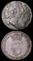 London Coins : A164 : Lot 1170 : Maundy Odds (2) Threepence 1694 Unbarred A's in MARIA, the M also overstruck, the underlying fi...