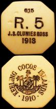 London Coins : A164 : Lot 423 : Keeling Cocos Islands (2) 5 Rupees 1913 Octagonal issue in Plastic Ivory (No.615) KM#Tn7 VF with som...