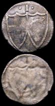 London Coins : A164 : Lot 852 : Penny Commonwealth S.3222 reverse brockage Fine or better, unusual, Halfpenny Henry V Type C. Ordina...