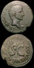 London Coins : A165 : Lot 2005 : Roman Ae As (2) Augustus (27BC-14AD) Moneyer's series, Obverse: Bare head right, CAESAR AVGVSTV...