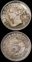 London Coins : A165 : Lot 2283 : Straits Settlements (2) Five Cents 1889 KM#10 EF/NEF and colourfully toned, One Cent 1900 KM#16 EF/N...