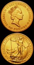 London Coins : A165 : Lot 2492 : Britannia Gold (2) Fifty Pounds Half Ounce 1987 S.BP1 Lustrous UNC, Twenty-Five Pounds Quarter Ounce...
