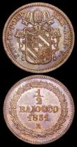London Coins : A165 : Lot 3703 : Italian States - Papal States Half Baiocco (2) 1842 XII-R KM#1319 Tone UNC with traces of lustre, a ...