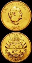 London Coins : A165 : Lot 3799 : Tonga (2) Countermarked Commemorative Coinage, Pa'anga 1967 and 50 Seniti 1967 both struck in c...