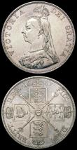 London Coins : A165 : Lot 3860 : Double Florins (2) 1887 Arabic 1 ESC 395, Bull 2697 NEF/EF, 1888 ESC 397, Bull 2699 Bright EF with s...