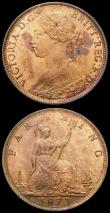 London Coins : A165 : Lot 3865 : Farthings (2) 1873 Low 3 in date (3 touches linear circle) and high 3 in date (3 clear of linear cir...