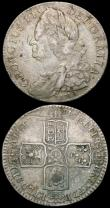 London Coins : A165 : Lot 3895 : Halfcrowns (2) 1745 LIMA ESC 605, Bull 1687, Fine/Good Fine the obverse with an old scuff, 1746 LIMA...