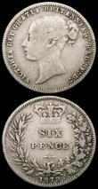 London Coins : A165 : Lot 3957 : Shillings 1879 (2) both ESC 1332, Bull 3053, Davies 910 dies 6B, Die Number 1 VG and Die Number 8 VG...