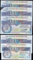 London Coins : A165 : Lot 824 : The States of Guernsey 10 Pounds (5) including signature W.C. Bull Pick 50a (Banknote Yearbook GU52a...
