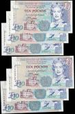 London Coins : A165 : Lot 825 : The States of Guernsey 10 Pounds QE2 issues (6) including signature D.P. Trestain Pick 57a (Banknote...