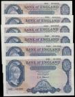 London Coins : A165 : Lot 88 : Five Pounds O'Brien Lion & Key (6) including B277 shaded symbol issues 1957 a consecutive t...