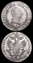London Coins : A166 : Lot 2627 : Austria 20 Kreuzer (2) 1803B KM#2139 EF/UNC and lustrous, the reverse with adjustment lines, 1806B K...