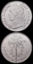 London Coins : A166 : Lot 2630 : Belgian Congo One Franc (2) 1921 KM#21 Flemish Legend, A/UNC the obverse with some contact marks and...