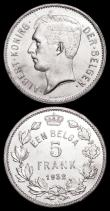 London Coins : A166 : Lot 2633 : Belgium (2) 2 Francs 1923 French Legend KM#91.1 Die axis inverted Lustrous UNC, 5 Francs 1932 Dutch ...