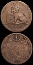 London Coins : A166 : Lot 2637 : Belgium (2) 5 Francs 1934 KM#97.1 GVF, scarce, 10 Centimes 1832 KM#2.1 Fine