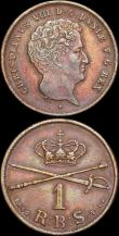 London Coins : A166 : Lot 2718 : Denmark Rigsbankskilling (2) 1842 FK/FF KM#762.1 VF, 1853 FK/VS KM#756 EF toned