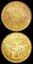 London Coins : A166 : Lot 2744 : French Equatorial Africa (3) One Franc 1942SA Brass KM#2 UNC and lustrous with a small spot on the r...