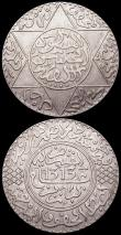 London Coins : A166 : Lot 2814 : Morocco (3) 5 Dirhams AH1313 (1894) Paris Mint GVF/NEF, 2 1/2 Dirhams AH1329 (1911) Y#23 About VF, 5...