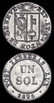 London Coins : A166 : Lot 2882 : Swiss Cantons - Geneva One Sol (3) 1817H KM#116 Billon EF, 1819 KM#119 Billon UNC, 1825 KM#120 Billo...