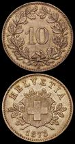 London Coins : A166 : Lot 2884 : Switzerland (2) 10 Rappen 1873B KM#6 EF with touches of gold tone, 5 Rappen 1874B KM#5 A/UNC and lus...