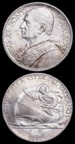 London Coins : A166 : Lot 2932 : Vatican 5 Lire (3) 1931 KM#7 A/UNC with a small tone spot on the obverse, 1939 KM#28 UNC and lustrou...