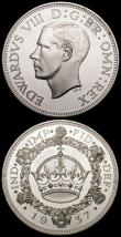 London Coins : A166 : Lot 2946 : Fantasy Crowns Edward VIII (2) 1936 by Hearn (Issued 1946) X#M2a UNC and lustrous with some toning, ...
