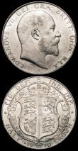 London Coins : A166 : Lot 2975 : Halfcrowns (2) 1902 Matt Proof ESC 747, Bull 3568 EF, 1910 ESC 755, Bull 3576 NEF the reverse with s...