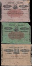London Coins : A166 : Lot 426 : Spain Banco de Cadiz circa 1800's issues (3) comprising 500 Reales De Vellon Pick S273 without ...