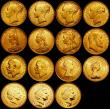 London Coins : A166 : Lot 543 : Era of Gold - Age of Empire, Sovereigns a 15-coin set 1871S Shield Reverse Good Fine, 1871 Shield Re...