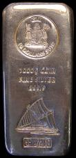 London Coins : A166 : Lot 945 : Fiji Ten Dollars 2018 Silver Bar Coin UNC, a 1000g fine silver bar with the $10 Fiji coin design sta...