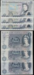 London Coins : A167 : Lot 1372 : Bank of England 5 Pounds 1967 - 1973 issues (6) in very high grades about EF/EF - GEF/about UNC comp...