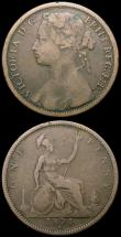 London Coins : A167 : Lot 2496 : Pennies (2) 1875H Freeman 85 dies 8+J Fine, 1874H Freeman 73 dies 7+H with the 8 and 7 broken in the...