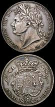 London Coins : A167 : Lot 820 : Halfcrowns (2) 1816 ESC 613, Bull 2086 NEF with some scratches on the obverse, 1820 George IV ESC 62...
