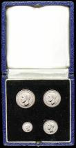 London Coins : A168 : Lot 1428 : Maundy Set 1952 ESC 2569, Bull 4323 UNC with practically full lustre, in the original blue box of is...