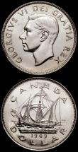 London Coins : A168 : Lot 1988 : Canada Dollar 1949 Newfoundland - 'The Matthew' - John Cabot's ship KM#47 UNC with pr...