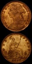 London Coins : A168 : Lot 2269 : Penny 1887 Freeman 125 dies 12+N GEF with good, slightly subdued lustre, Halfpenny 1773 Peck 904 NEF...