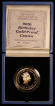 London Coins : A168 : Lot 429 : Five Pounds 1990 QM 90th Birthday Gold Proof FDC cased with certificate
