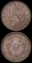 London Coins : A169 : Lot 1113 : USA (2) 5 Cents 1891 Breen 2549 EF with a few contact marks on the head and  USA Dime 1892 Breen 347...