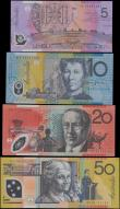 London Coins : A169 : Lot 117 : Australia (4) 50 Dollars issued 1999 series DG99161153 Pick54b, 20 Dollars issued 2002 series BH0228...