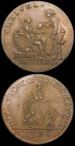 London Coins : A169 : Lot 310 : Halfpennies 18th Century Middlesex (2) undated R.Heslop - Contortionist, Obverse: Man and a monkey i...