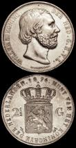 London Coins : A170 : Lot 1134 : Netherlands 2 1/2 Gulden 1874 Sword in scabbard privy mark KM#82 GVF, 5 Cents 1855 KM# EF/GEF with l...