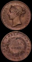 London Coins : A170 : Lot 1212 : Straits Settlements (2) One Cent 1845 KM#3, Half Cent 1845 KM#2 both EF toned with some contact mark...