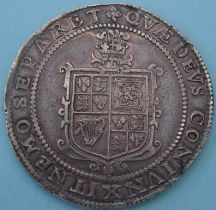 London Coins : A124 : Lot 1807 : Crown James I silver 3rd coinage, king on horseback, R. plume over shield, mint mark tre...