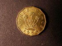 London Coins : A124 : Lot 181 : Brass Threepence 1950 Peck 2394 Lustrous UNC with a small tone spot on the 0 of the date, Rare i...
