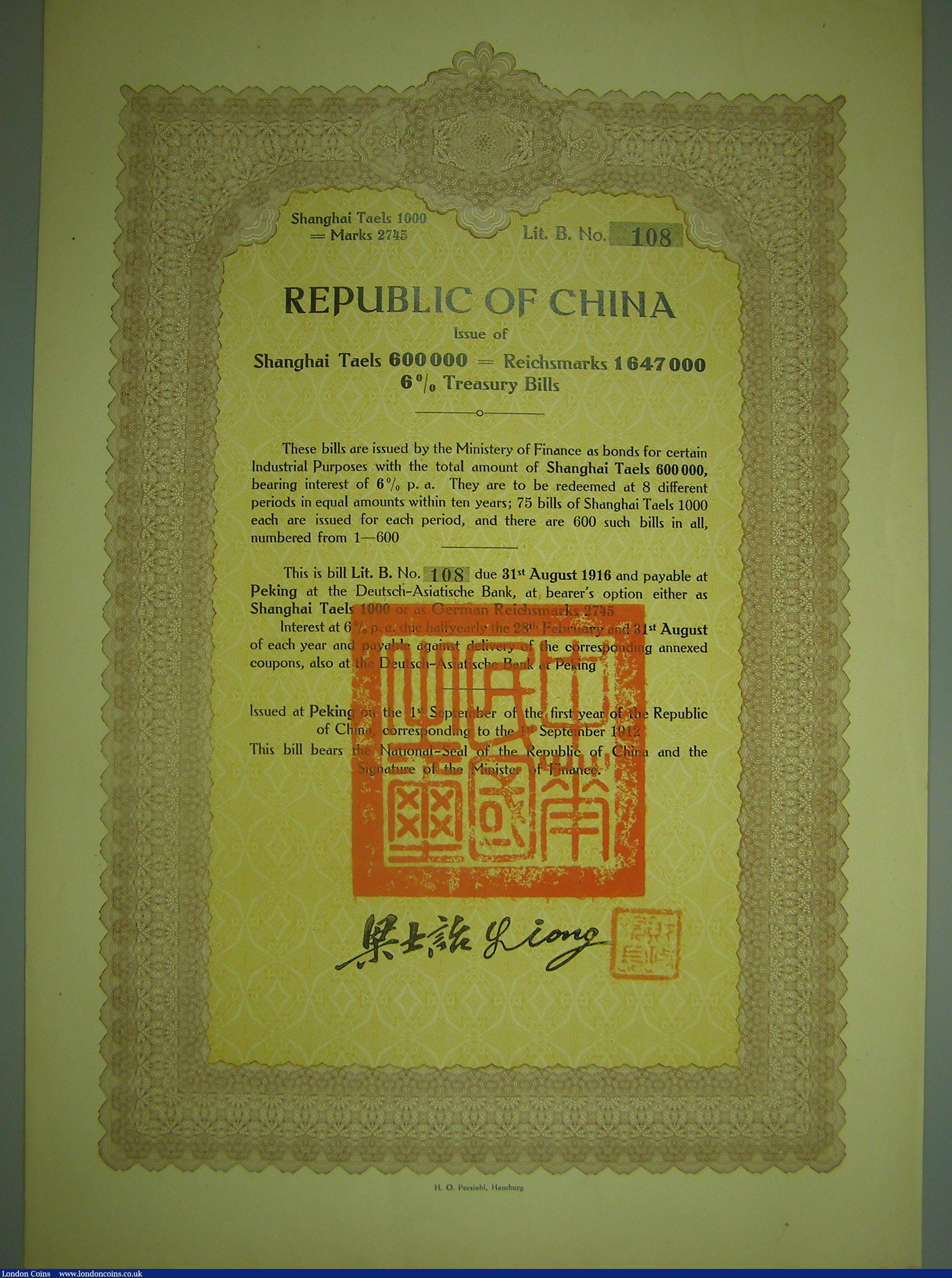 Amount Deutsch china, republic of china 6% treasury bills of 1912, bond