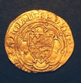 London Coins : A130 : Lot 998 : Quarter Noble Edward III no E in centre of reverse dull a VF with some scuffing probably a metal det...